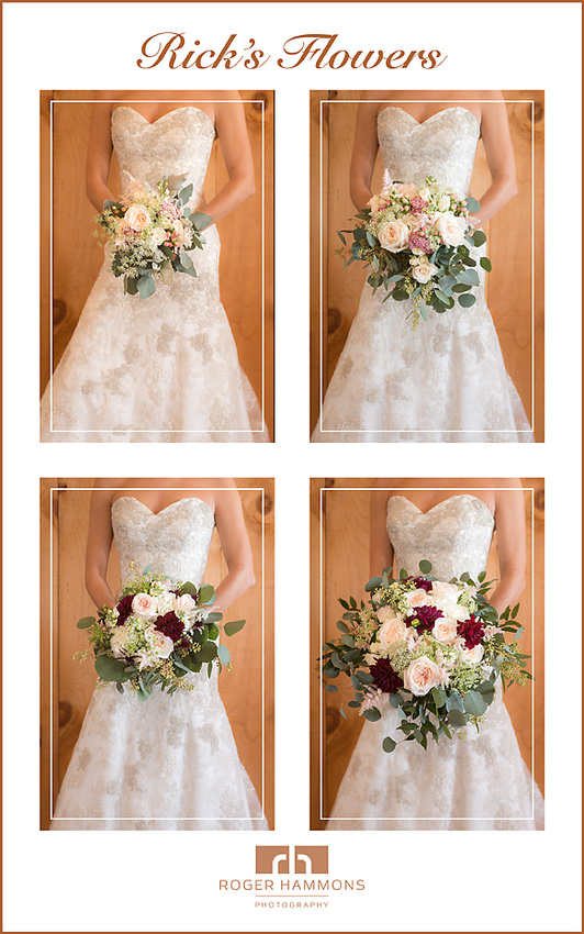 An array of photographs of bridal bouquets showing the diversity and artistry of Rick's Flowers, taken on assignment by Roger Hammons Photography, a premiere wedding, portrait, and fine art photographer in Ashburn, Virginia.