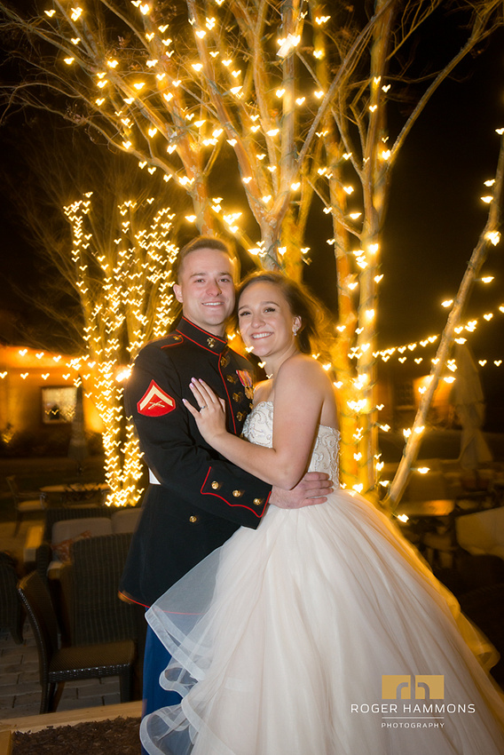 Northern Virginia wedding and portrait photographer Roger Hammons shares a night-time portrait of a bride and groom who married at the Stone Tower Winery in Leesburg, Virginia.