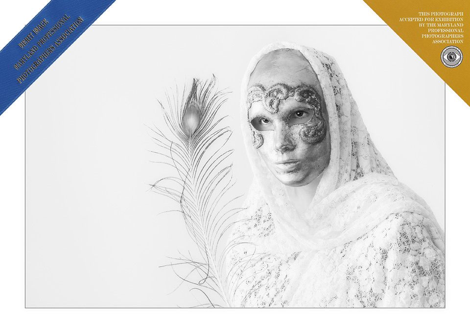 Award-winning portrait of a teenage girl dressed in mask and white shroud by Northern Virginia wedding and portrait photographer Roger Hammons whose family portrait studio is located in Ashburn, Virginia